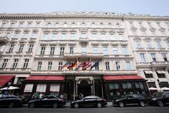 Hotell Sacher i Wien Royaltyfria Foton