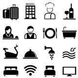 Hotell-, semesterort- och gästfrihetsymbolsuppsättning stock illustrationer