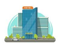 Hotell som isoleras på illustrationen för stadsgatavektor, plan modern skyskrapahotellbyggnad nära vägen vektor illustrationer