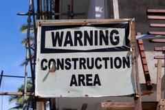 Hotell under konstruktion, varningstecken Royaltyfria Bilder