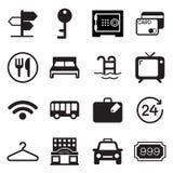 Hotell- & vandrarhemsymbolsuppsättning Arkivbild