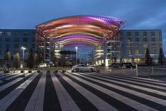 Hotellbyggnad Franz Josef Strauss International Airport Munich arkivfoto