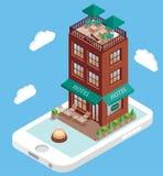 Hotellbyggnad på mobiltelefonskärmen i isometrisk stil för vektor Bokninghotellonline-användande smartphone Illustration in Fotografering för Bildbyråer