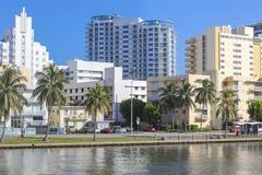 Hotellbyggnader i Miami Beach, Florida Royaltyfria Bilder
