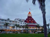 Hotelldel Coronado på skymning arkivbilder