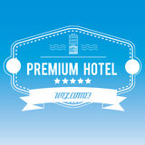 Hotellemblem på suddig bakgrund vektor illustrationer
