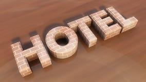 Hotellet 3d pressar ut text Royaltyfri Bild