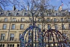 Hotellet du Louvre i Paris Arkivbild