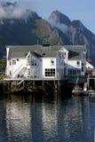 hotellet lofoten sjösidan Arkivbild