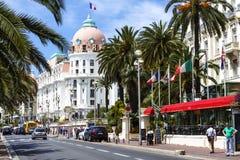 Hotellet Negresco och Promenade des Anglais, Nice Fotografering för Bildbyråer