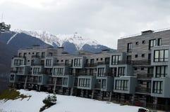 Hotellet placeras på foten av berget var jag älskar för att skida semesterfirare arkivbilder