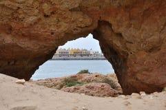Hotelllandskap av Portimao, Algarve, Portugal Fotografering för Bildbyråer