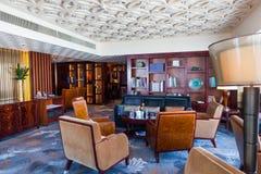 Hotelllobbyen arkivbild