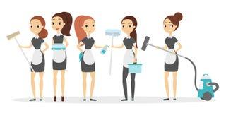 Hotelllokalvårdservice stock illustrationer