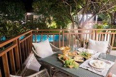 Hotellloppet vilar semesterorten i Thailand arkivfoton