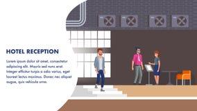 Hotellmottagandeillustration Klientbokningkontroll vektor illustrationer
