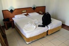 Hotellrummet i det Kleopatra strandhotellet Alanya, Turkiet Arkivbild