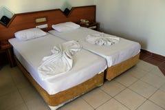 Hotellrummet i det Kleopatra strandhotellet Alanya, Turkiet Arkivfoto