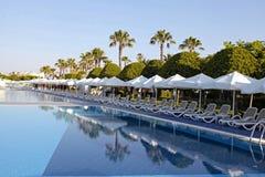 Hotellsimbassäng med tomma soldagdrivare Royaltyfri Fotografi