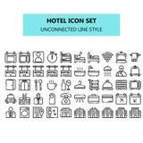 Hotellsymbolen ställde in i PIXEL perfekt osammanhängande linje symbolsstil vektor illustrationer