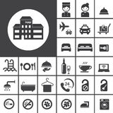 Hotellsymbolsuppsättning stock illustrationer