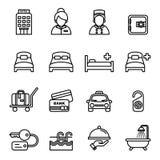 Hotellsymbolsuppsättning 1 royaltyfri illustrationer