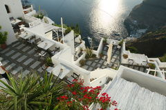 Hotellterrass i Santorini Grekland Fotografering för Bildbyråer