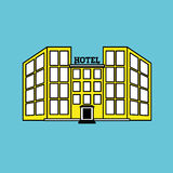 Hotellvektorillustration, vektorsymbol Royaltyfri Foto