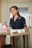 Hotelowa cleaning dama podczas housekeeping zdjęcie stock