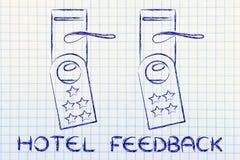 Hotelowa informacje zwrotne, drzwiowi wieszaki z rankingiem Obraz Stock