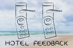 Hotelowa informacje zwrotne, drzwiowi wieszaki z rankingiem Zdjęcie Royalty Free