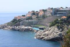 Hotelowa panorama na falezie, Dubrovnik Chorwacja zdjęcie royalty free
