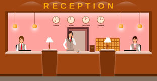 Hotelowa przyjęcie usługa Hotelowych pracowników mile widziany goście na ich miejscu pracy Biznesowego biura recepcjoniści ilustracja wektor