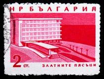 Hotelowe «Pogodne plaże, Czarny Denny Brzegowych kurortów seria około 1963, zdjęcie royalty free