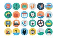 Hotelowego i Restauracyjnego mieszkania Barwione ikony 2 Obraz Stock