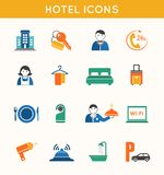 Hotelowej podróży płaskie ikony ustawiać Zdjęcie Royalty Free