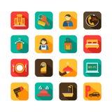 Hotelowej podróży Płaskie ikony Ustawiać Obrazy Stock