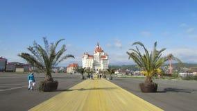 Hotelowy kompleks w mieście Adler, subtropics, drzewka palmowe fotografia royalty free