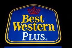 Hotelowy logo przy nocą Obrazy Royalty Free