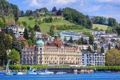 Hotelowy pałac budynek w lucernie, Szwajcaria Zdjęcie Royalty Free