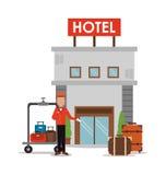 Hotelpagegepäck-Hotelservice-Ikone, Vektor Stockfoto
