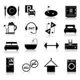 Hotelpictogrammen geplaatst zwart Royalty-vrije Stock Afbeeldingen
