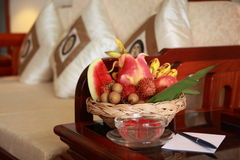 Hotelroom. Fruitbasket in a hotel room Royalty Free Stock Images