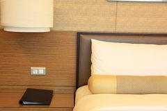 Hotelroom. Bed with folder and pillows royalty free stock image