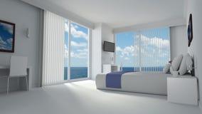 Hotelroom luxuoso no estilo projetado moderno Imagem de Stock