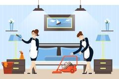 Hotelruimte het schoonmaken Stock Foto's