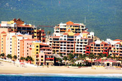 Hotels. Picture of resorts by the beach taken from a cruise ship using a zoom lens Royalty Free Stock Images