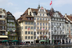Hotels along the river Reuss Stock Image