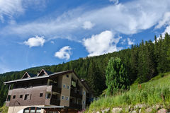Hotels in Alps. Hotels in Italian Alps in st. Katerina Royalty Free Stock Images