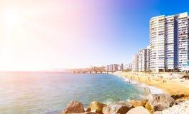 Hotels auf dem Strand in Vina del Mar, Chile Stockbild